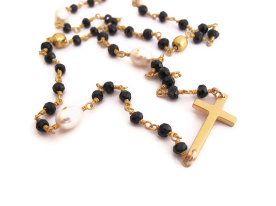 sideways rosary gold cross