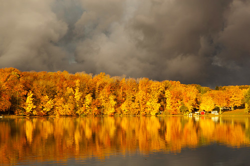 autumn lake water clouds canon reflections michigan oceanacounty