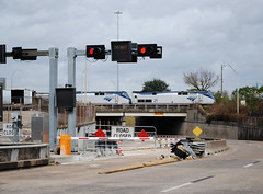 Amtrak, eastbound over I-45 HOV, Houston, Texas 1212231205