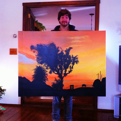 wow @almost_dunn painted this for us - its of a sunset at topanga canyon beach in california where @bzctmom & I met in '81 :)