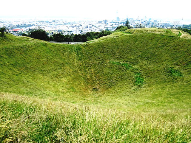 Volcanic crater at Mt Eden