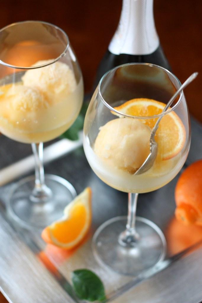 Tangerine Sorbet Champagne Floats