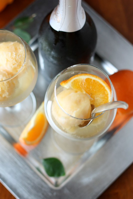 Tangerine Sorbet Champagne Floats - Completely Delicious