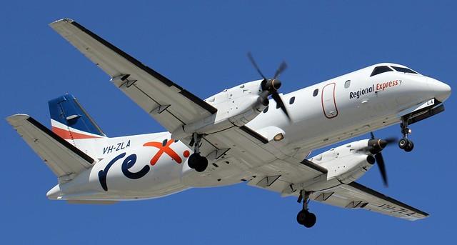 VH-ZLA REX (Regional Express) Saab 340B 371 approaching Merimbula NSW Airport