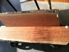 Blistered bubinga hardwood slab lumber