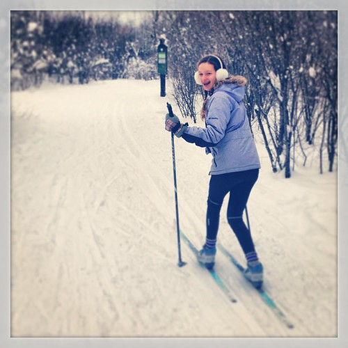 DD loves her skis