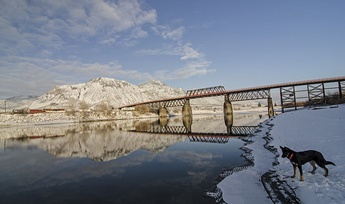 bridge winter red snow beach river paul bc britishcolumbia south mount peter kamloops thompson