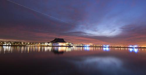 sunset arizona lake water reflections airplane nikon january hdr tempe 2012 d700