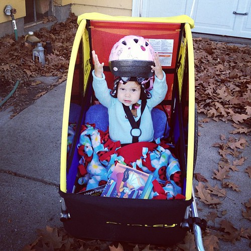 """Alright, let's go already!"" - everybody's a backseat cyclist. #bikewithkids"
