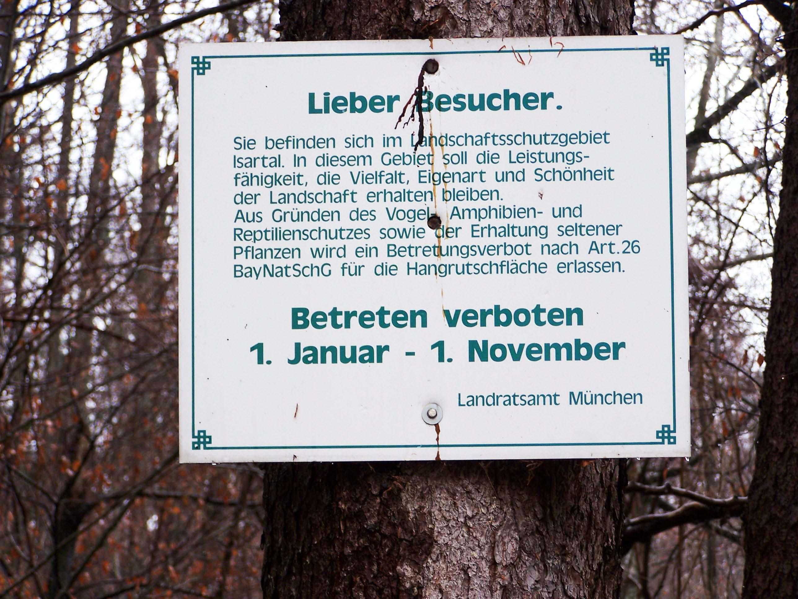 Schild Landschaftsschutzgebiet Isartal, Dezember 2012