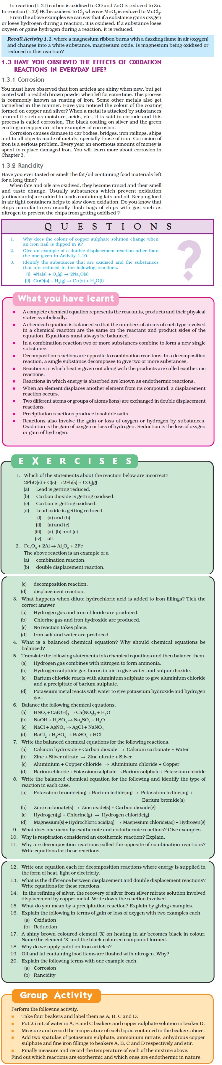 NCERT Class X Science: Chapter 1 – Chemical Reactions and Equations