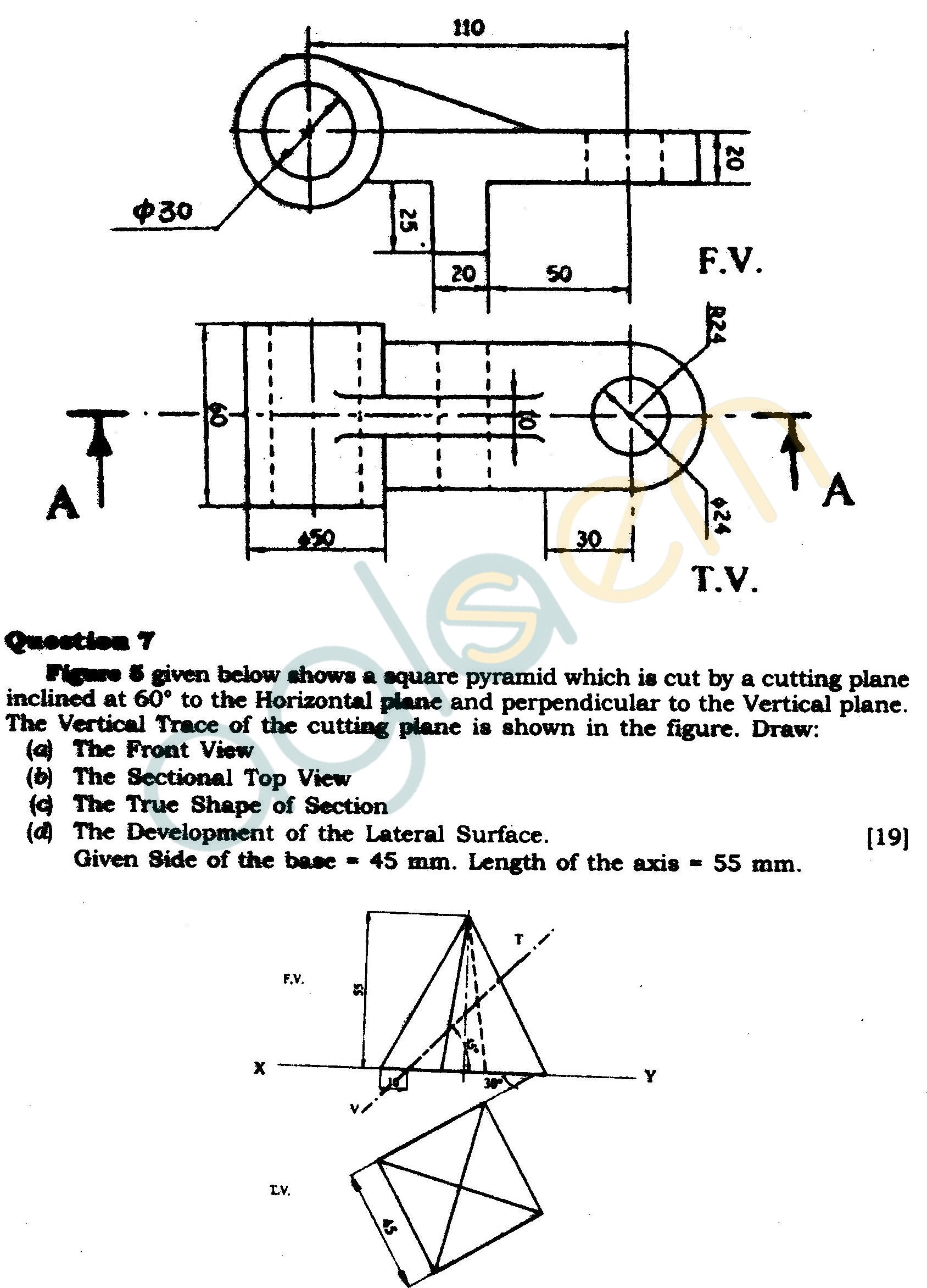 ICSE Class X Exam Question Papers 2012 Technical Drawing