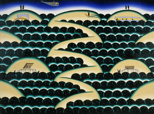 Roger Brown, Ohio Snake Mound, 1973, Oil on canvas