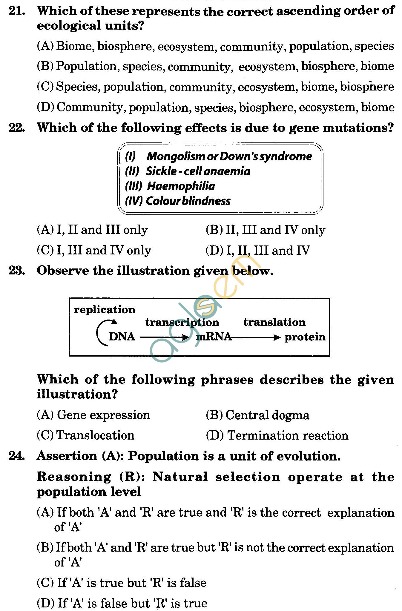 NSTSE 2009 Class XII PCB Question Paper with Answers - Biology
