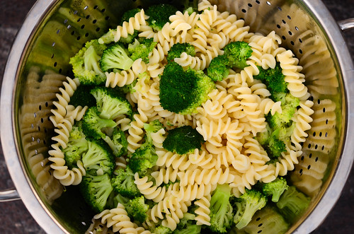 pasta and broccoli all cooked up