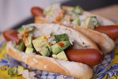 Hot Dogs with Avocado, Onion, Pale Ale Mustard, Hot Sauce, and Celery Salt