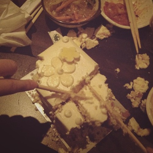 This is what we do when we are told no forks or knives. #chopsticks baby! #cake#dufflet#awesome