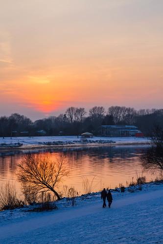 schnee winter sunset snow germany deutschland nieve alemania invierno bremen osterdeich