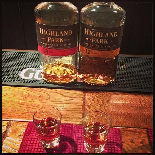ハイランドパーク12年と18年飲み比べ。