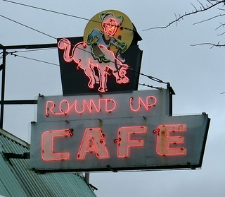 sry13a36 Round Up Cafe Sign, King George Blvd