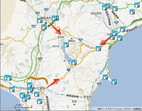 箱根周辺 電気自動車用急速充電器マップ