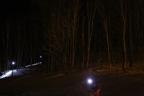 Night skiing at Otaru resort..
