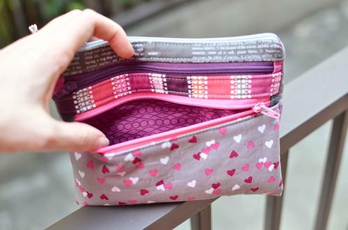 triple zip pouch lining