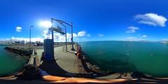 Fishing at the Ke'ehi Lagoon off the pier of the Ke'ehi Small Boat Harbor - a 360 degree Equirectangular VR