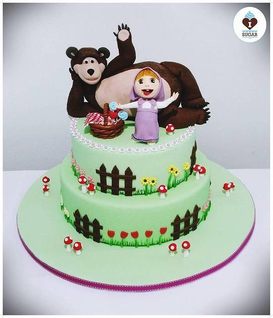 Masha and the Bear Cake by Ingrid Fava of I Love Sugar