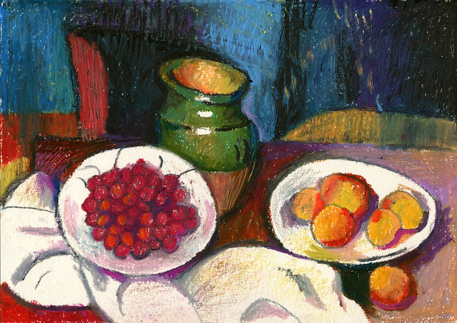After Cezanne, Still life with a plate of cherries, oil pastel on paper