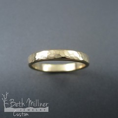 Custom Hammered Yellow Gold Wedding Ring
