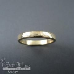Custom Hammered Yellow Gold Wedding Ring