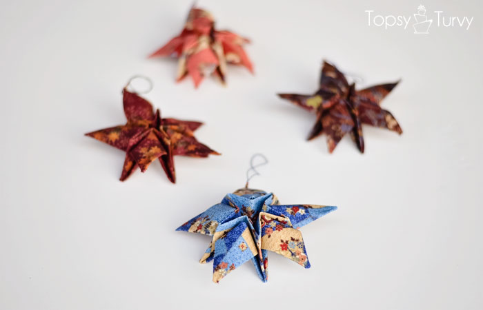 fabric-origami-star-ornaments