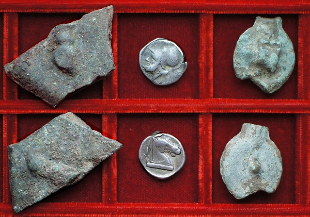RRC 005 Aes Signatum bull-bull bar, RRC 13 Mars horsehead Didrachm, RRC 14 Aes Grave sextans, uncia, Ahala collection, coins of the Roman Republic
