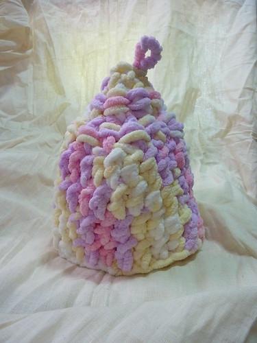 knit。粉嫩的毛線保溫茶套