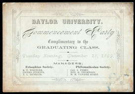 Baylor University Commencement party invitation, 1859