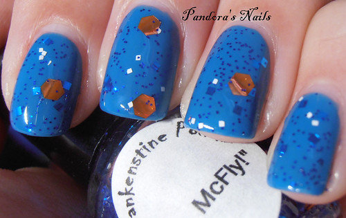 Frankenstine Polish Hey, McFly over Nubar Hot Blue 3