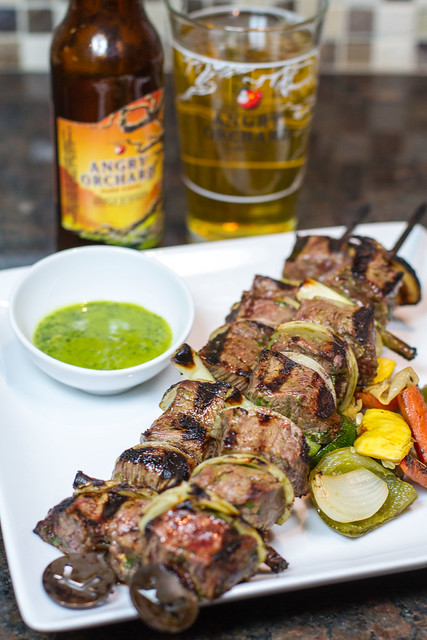 Beef Skewer with Angry Orchard Apple Ginger Chimmichuri