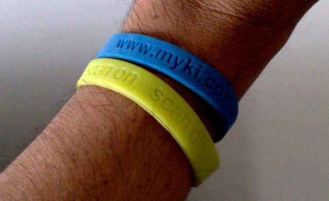 "Myki wristbands from 2009 - later they changed the term from ""scan"" to ""touch"""