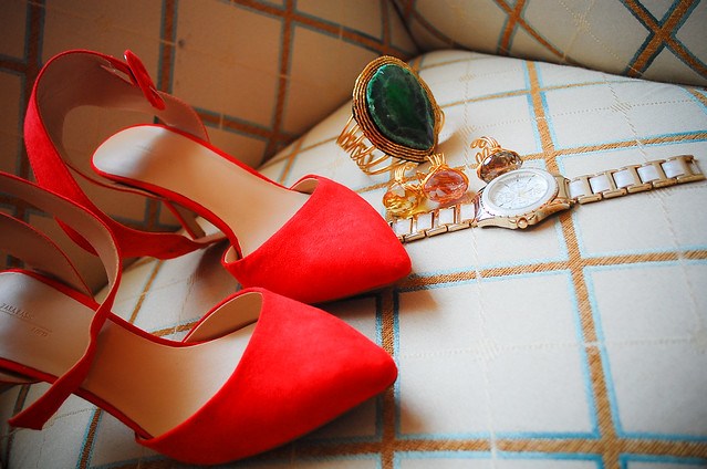 Zara Red Slingback heels and Arabesque accessories