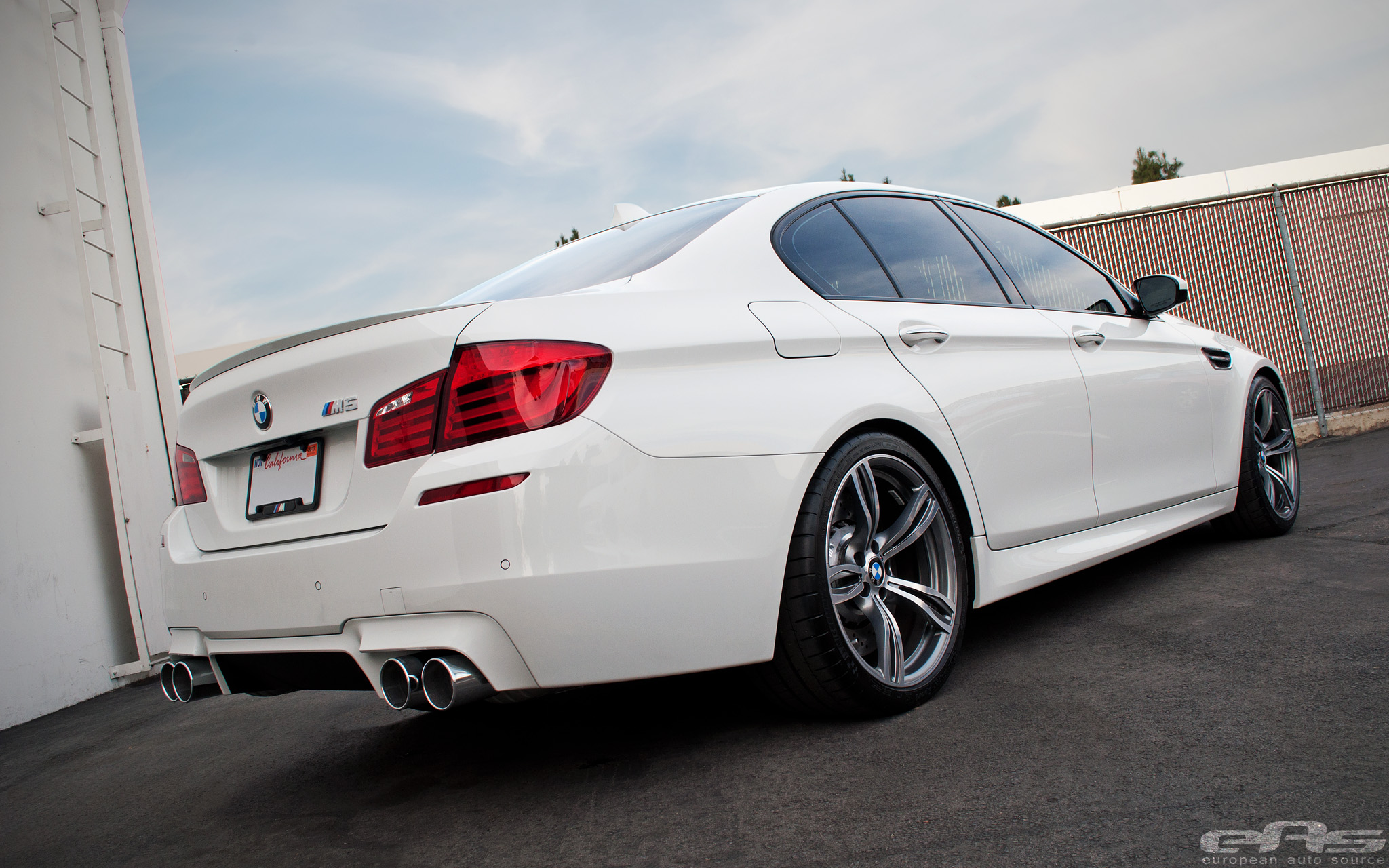 Alpine White BMW F10 M5 with H&R Springs and Eisenmann Sport Exhaust by eas