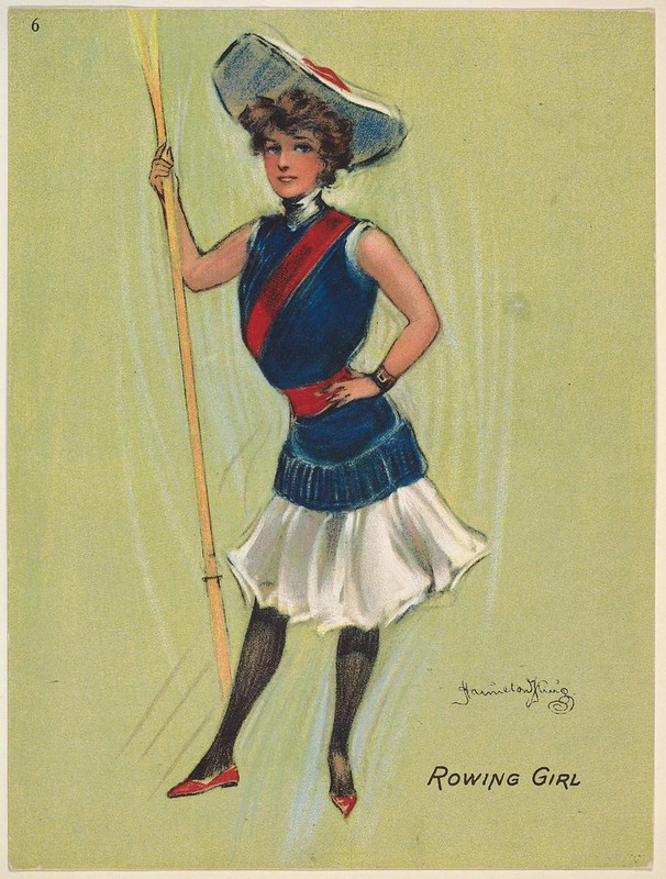 drawing of standing woman in hat and with a chest sash holding a rowing oar
