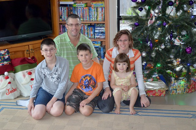 Christmas morning, family photo.