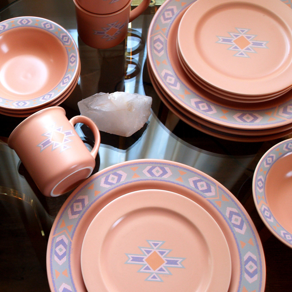 80s VINTAGE AZTEC PATTERN Stoneware For 4 Set Of 15 Lovely Dinner. Dinnerware Southwest ... : southwest dinnerware patterns - pezcame.com