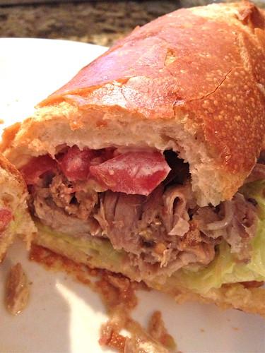Leftover pernil sandwich