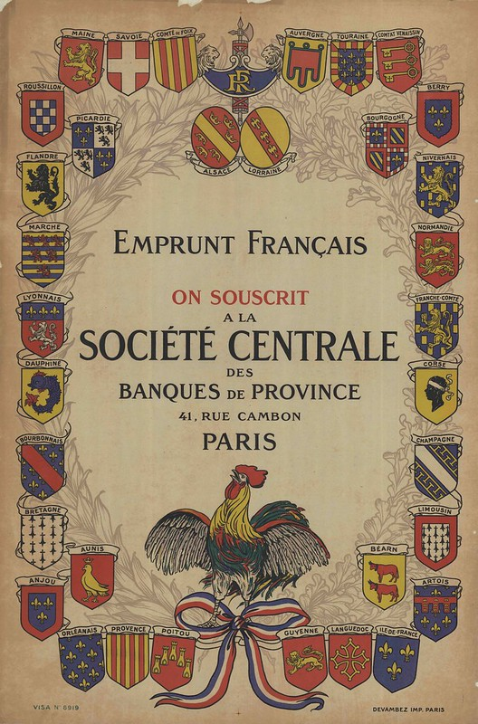 french poster bordered by many flags with crowing rooster