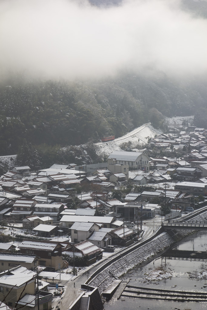 a train and Tsuwano town