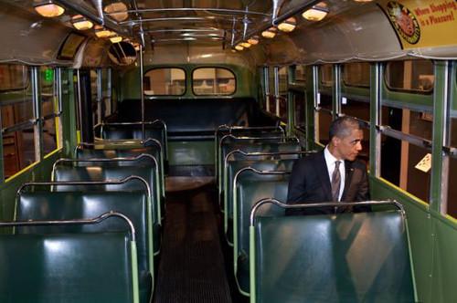 Obama in Rosa Park's seat