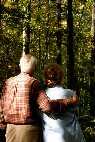 Jim and Joanne Corum enjoy the beautiful view on their land that was once a briar hill, but is now a beautiful healthy forest home to scores of wildlife.