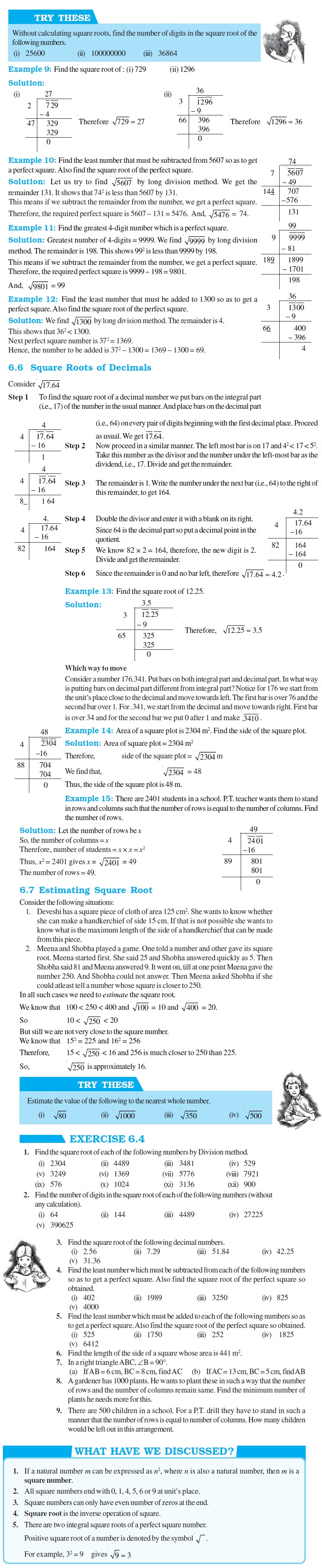 NCERT Class VIII Maths Chapter 6 Squares and Square Roots